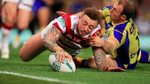Josh Charnley scores a try