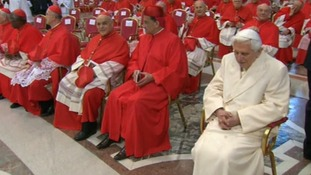 Pope Benedict sat in the front row at the ceremony in the Vatican.