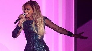 Beyonce on stage during the 2014 Brit Awards