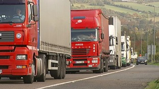 Lorries on the ring road around London