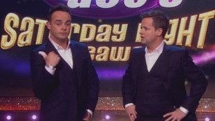 Ant McPartlin shows Declan Donnelly he will never hitchhike again/.