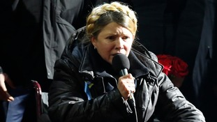 Ukrainian opposition leader Yulia Tymoshenko sits in a wheelchair as she addresses the crowd.