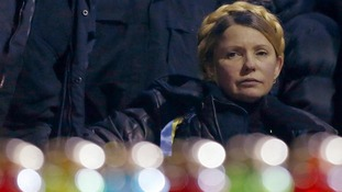 Ukrainian opposition leader Yulia Tymoshenko looks on during a rally of anti-government protesters.