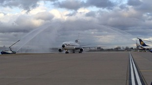 Water jets herald the landing of the last ever DC-10 passenger journey