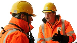 David Cameron during a visit to the BP Etap platform in the North Sea.