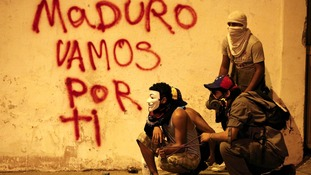 The graffiti reads: 'Maduro we are going for you.'