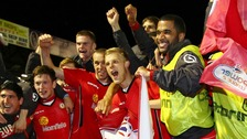 Crewe Alexandra players cheering win at Southend