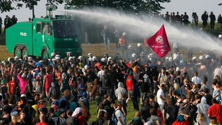 Water cannon in action.