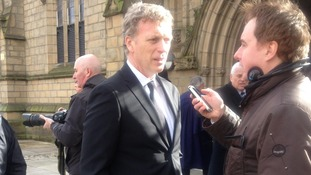 David Moyes, formerly manager of Preston, speaks to the media outside Preston Minster