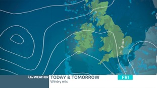 Rain will turn to snow for a time in southern counties