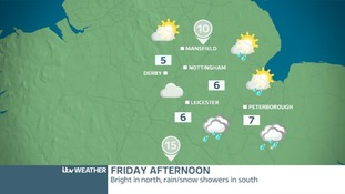 East Midlands Friday afternoon - Rain and snow clearing sewards