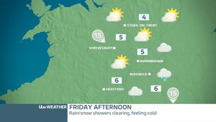West Midlands Friday afternoon - turning brighter in the north