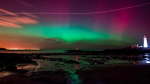 Aurora Borealis over St Mary's Lighthouse, Whitley Bay.
