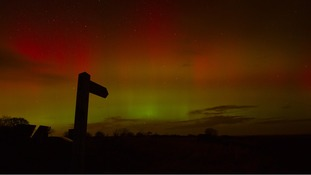 Aurora Borealis at Holy Island Causeway at around 8pm last night.