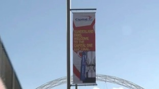 Sunderland flags on Wembley way.