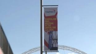 Sunderland flags on Wembley way.