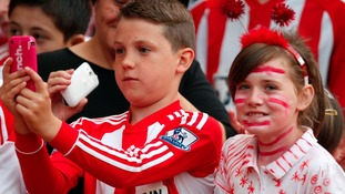 Young Sunderland fans in the stands against MK Dons.