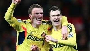 Adam Johnson (right) celebrating semi-final win over Manchester United.