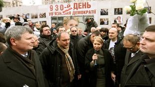 Yulia Tymoshenko meets with supporters yesterday.