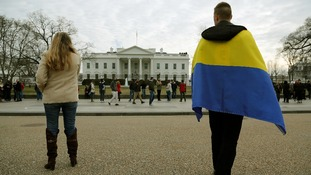 Protesters demand US action against any Russian incursion into Ukraine, in front of the White House.