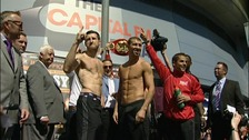 Carl Froch and Lucian Bute at the weigh in