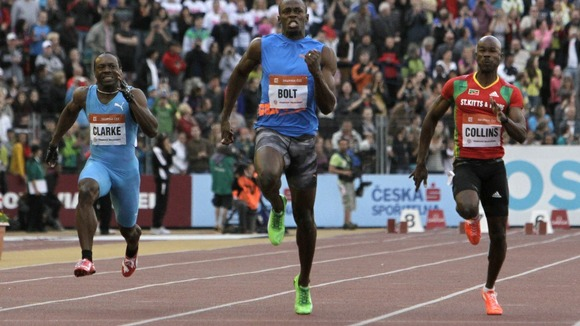 Usain Bolt competes in the 100 meters men's race in Ostrava. Dwain Chambers finished fifth.