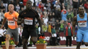 Dwain Chambers power towards the finish line at the IAAF World Challenge