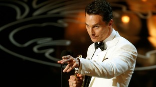 Matthew McConaughey celebrates his win for Dallas Buyers Club.