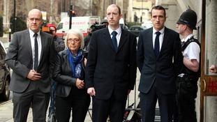 PC Blakelock's sons Lee, Kevin and Mark, along with his widow Elizabeth Johnson