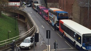 Buses queued for hours.