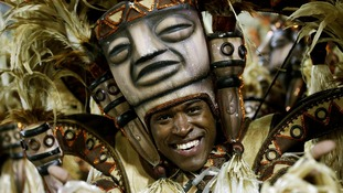 A dancer from the Salgueiro samba school participate in the annual Carnival parade.