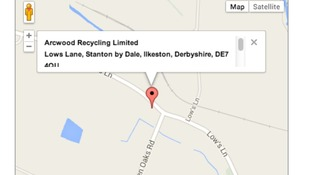 The location of Arcwood Recycling Ltd