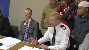 Assistant Chief Constable Nigel Trippett listens to concerns at the meeting last night.