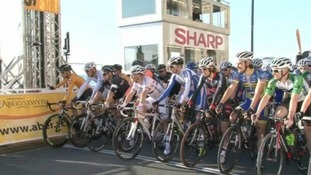 cyclists at start line