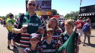 A family of Leicester Tigers fans at Twickenham