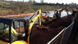 Water back into repaired section of Tiverton canal