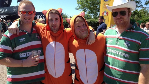 Leicester Tigers fans dressed as tigers