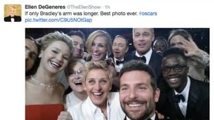 A tweet from Ellen DeGeneres' twitter page of the Oscars selfie.