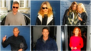 lockwise from left: Gary Barlow, Kimberley Walsh, Mel C & Emma Bunton, Katy B, Michael Owen and Dion Dublin in London today.
