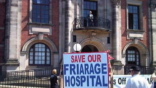 Foreign Secretary William Hague addresses those marching to save the Friarage Hospital in Northallerton