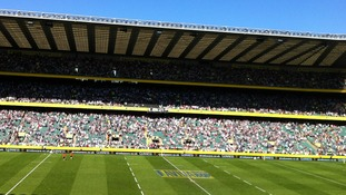 Twickenham pitch Aviva Premiership half time