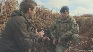 Corporal Mark Short of the 42 Engineer Regiment speaks to Rupert Evelyn.