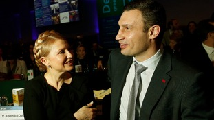 Ukrainian opposition politicians Yulia Tymoshenko and Vitali Klitschko.