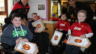 Nemanja Vidic and Rio Ferdinand at Francis House Children's Hospice