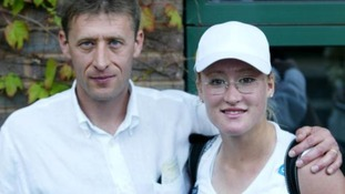 Elena with her father Sergei after reaching the second round of Wimbledon in 2002.