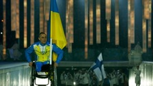 Applause for sole Ukrainian in Paralympics ceremony