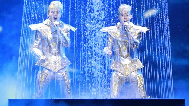 "Jedward of Ireland perform their song ""Waterline"""