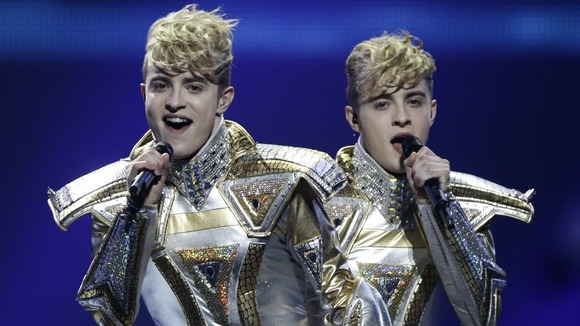 Former X Factor stars Jedward performed at the Eurovision Song Contest for the second successive year.