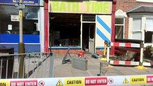 Fire damaged shop below flat