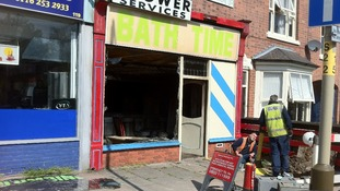 Fire damaged shop below flat in leicester